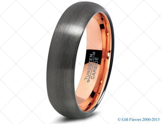 Black Gunmetal Tungsten Ring Rose Gold Wedding Band Ring Tungsten