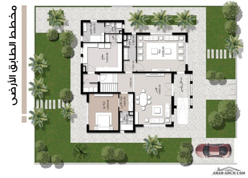 فيلا خليجى 4 غرف نوم 370 متر مربع Model House Plan House Layout Plans Bungalow Floor Plans