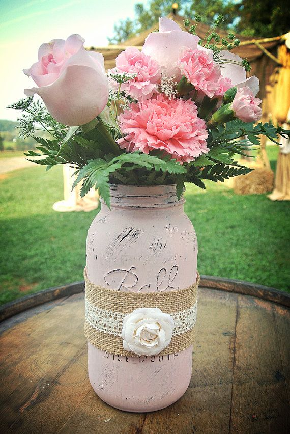Distressed Half Gallon Mason Jar Centerpiece By