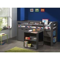 Photo of Spielbett Pino m. Schreibtisch, Regal, Hängeregal & Kommde, Kiefer / Mdf taupe Vipack