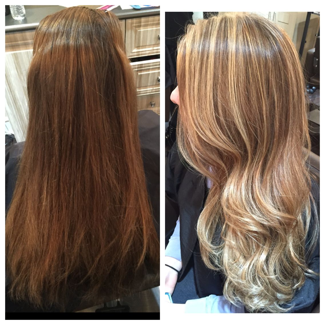 Spray on hair before and after sea salt hair spray before after gadget - Before And After Honey Blonde Highlights With Toner