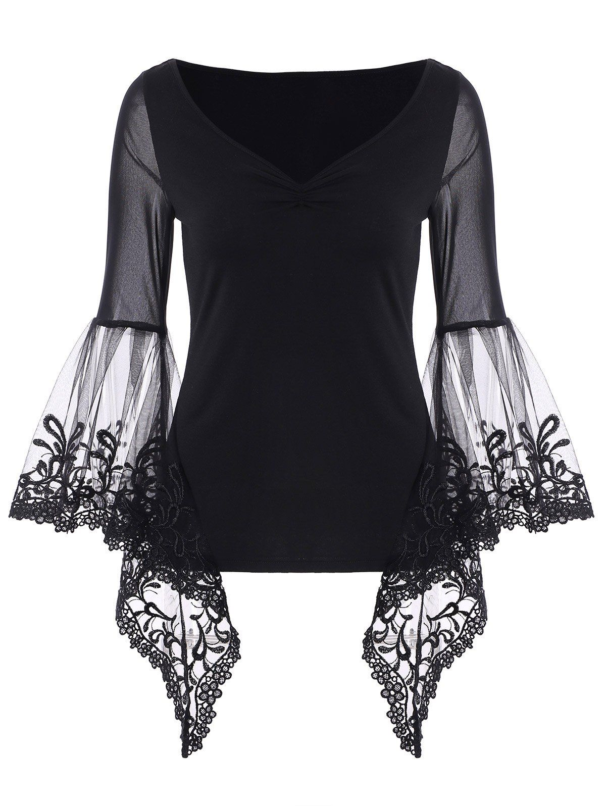 6ce663a4ebe V Neck Bell Sleeve Sheer Lace Panel T-Shirt