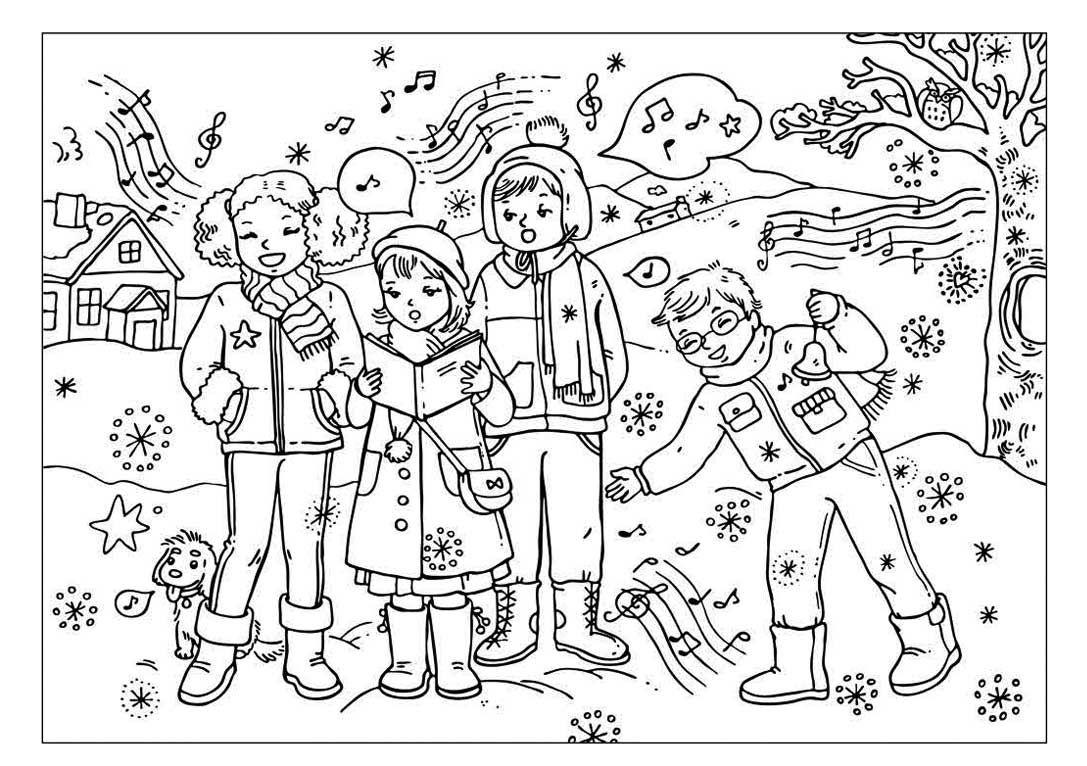kleurplaat zingen in de winter | Thema winter kleuters / Winter ...