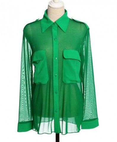 Retro Green Semi-sheer Sheer and Chiffon Panel Blouse