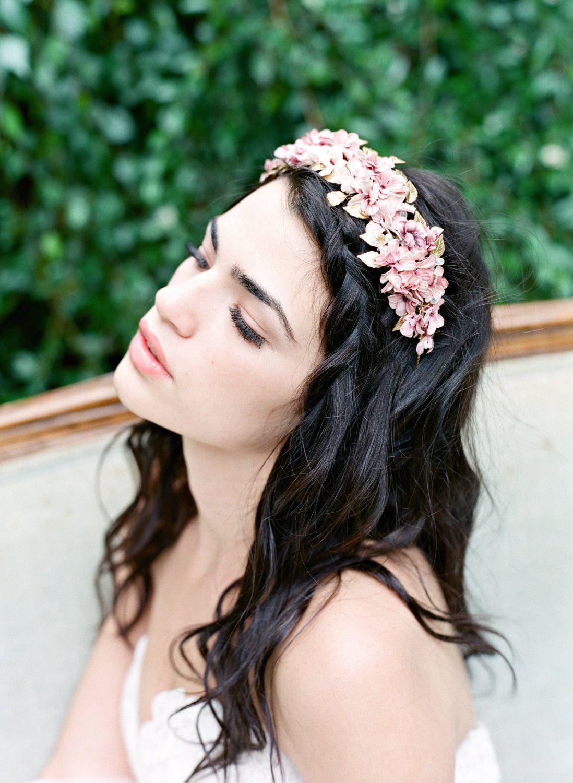 Pink Floral Bridal Headpiece Juliet Silk Flower Wedding Headpiece