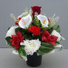 Artificial Flower Arrangement Red/ White In Pot For Grave/Memorial ...