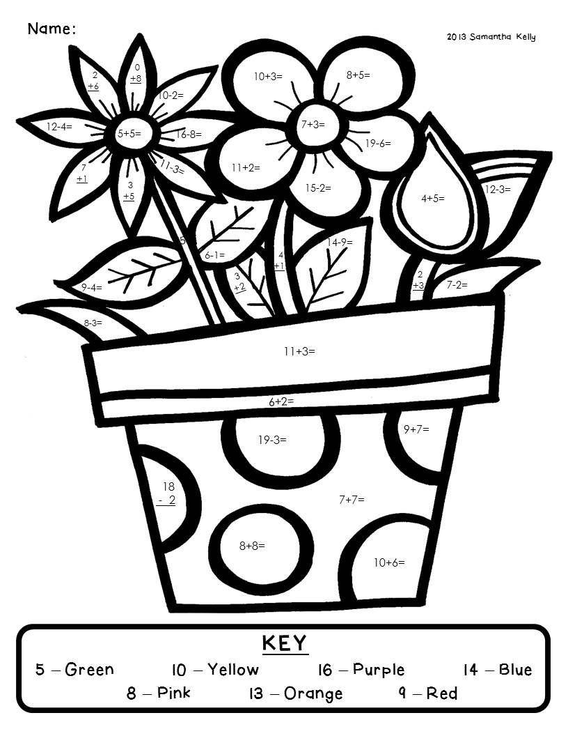 4 Worksheet Garden Plants Color By Number Pamela Golden Golden2086 On Pinterest Math Coloring Worksheets Math Coloring Spring Math