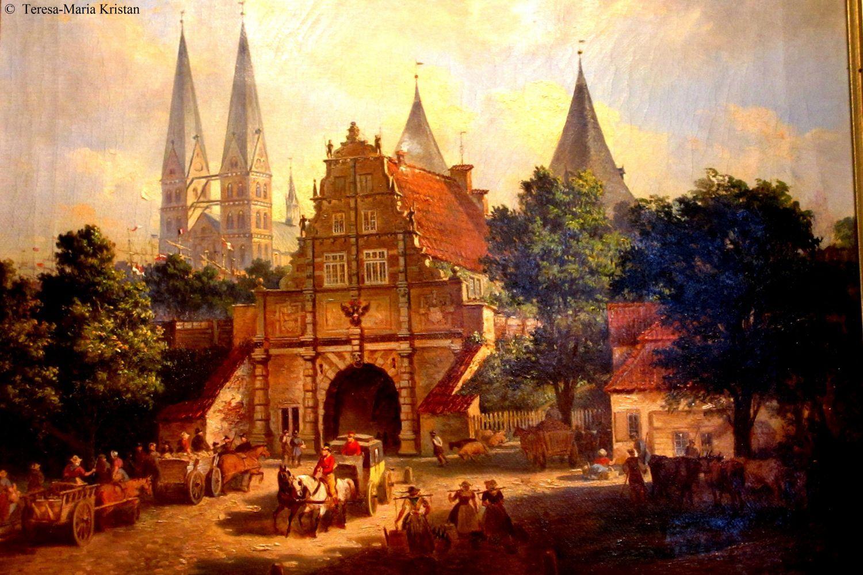 Alte Ansicht von Lübeck-Gemälde im Holstentormuseum