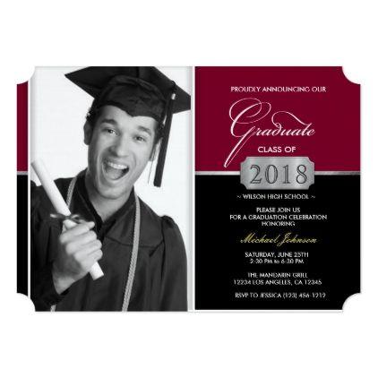 Burgundy and Black Modern Class of 2018 Graduation Card - #create