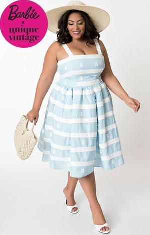 44b403d6348 1960 s Vintage Inspired Blue Sundress-Barbie Collection – Shop Blanche s  Place