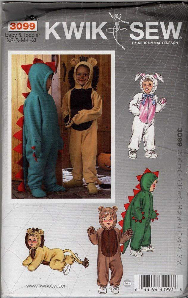 3099 Kwik Sew Costume Pattern Baby Toddler Xs Xl Dinosaur Bear Bunny