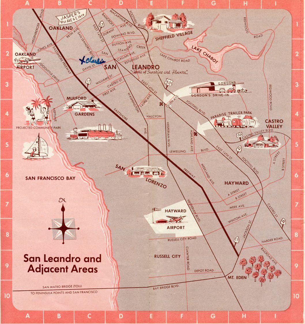 San Leandro, California Map 1954 | California - San Leandro ... on downey map, burlingame map, santee map, marin city map, la costa valley map, bakersfield map, pico rivera map, ukiah map, san lorenzo map, pleasanton map, mission san jose map, san pablo map, big sur map, benicia map, north county san diego map, south bay cities map, milpitas map, gardena map, south san diego map, whittier map,