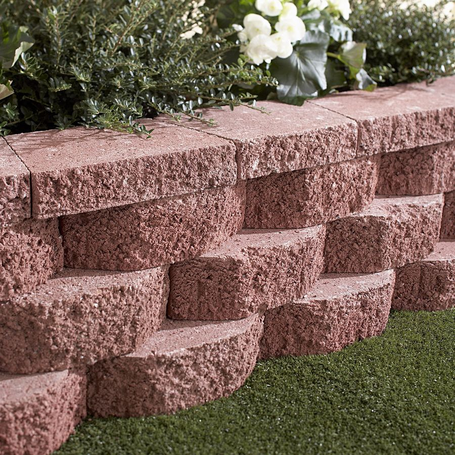 shop red basic retaining wall block common 12 in x 4 in on retaining wall blocks id=68968
