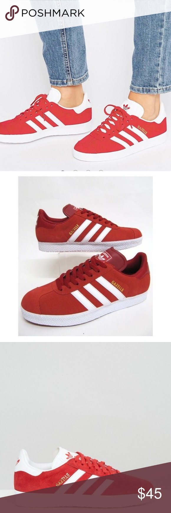 77c2af8e717 Red suede Adidas Gazelle Men s size 6.5 (womens 8) New! Never worn!