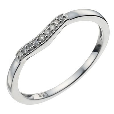 9ct white gold shaped diamond ring | Rings | White gold ...
