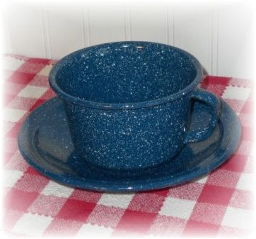 Blue and white country speckled enamelware cup and saucer