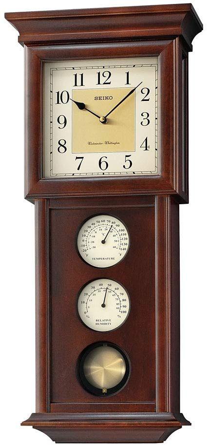 Seiko Qxh050blh Chiming Pendulum Wall Clock Chimes The