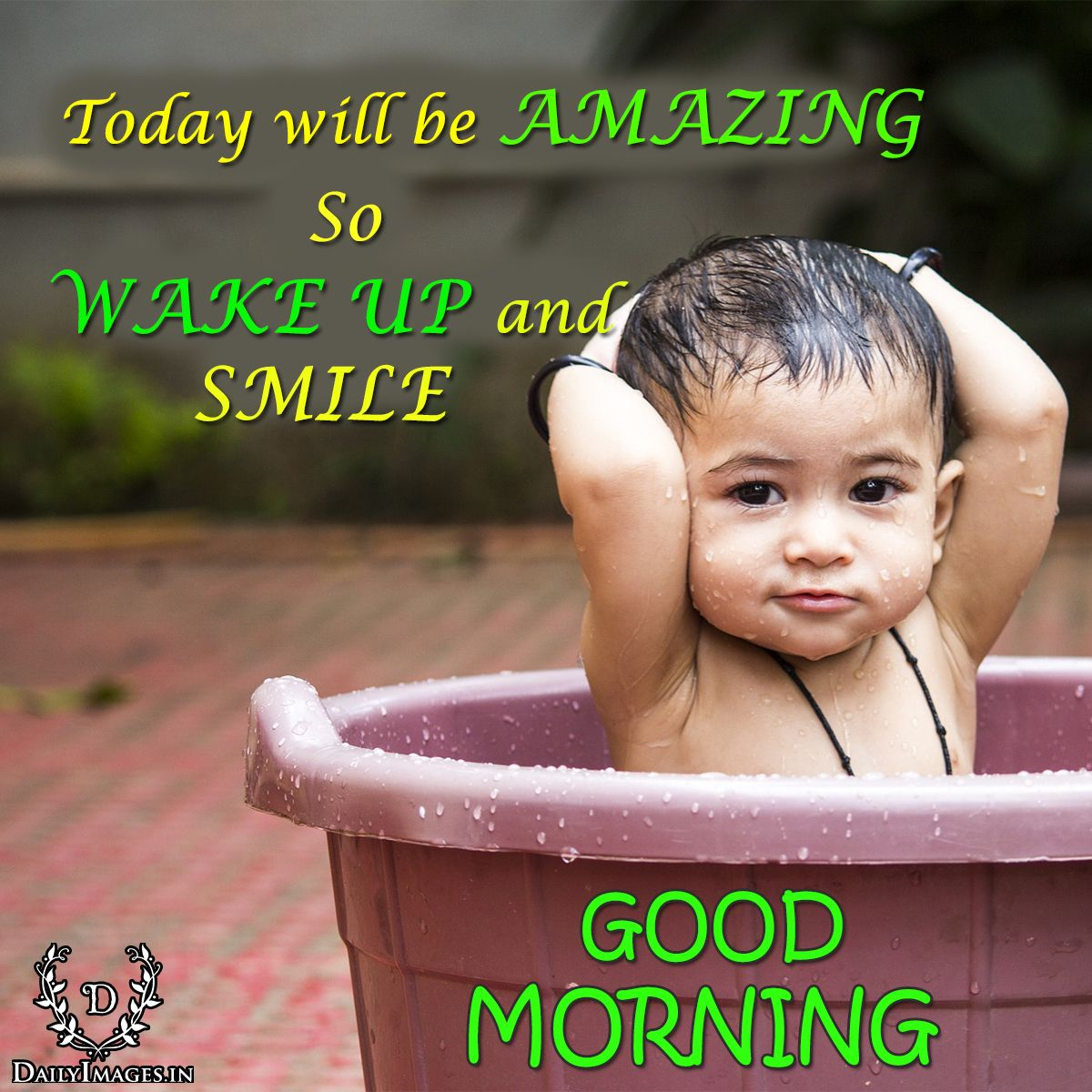 "Refreshing Good Morning Quotes: Today Will Be AMAZING So WAKE UP And SMILE.""GOOD MORNING"