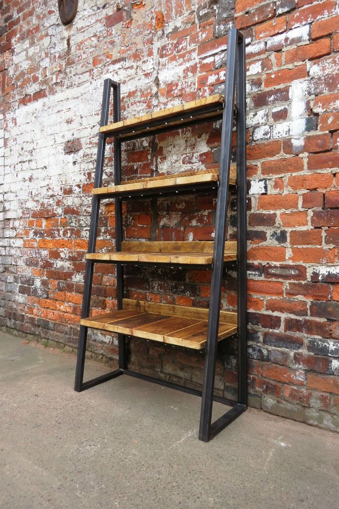 Industrial Reclaimed Trapezium Steel Amp Wood Bookcase Media Shelving Unit Custom Industrial