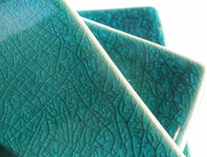 Hand Made Subway Tile With Turquoise Crackle Glaze Crackle Glaze Crackle Glaze Tiles Glazes For Pottery