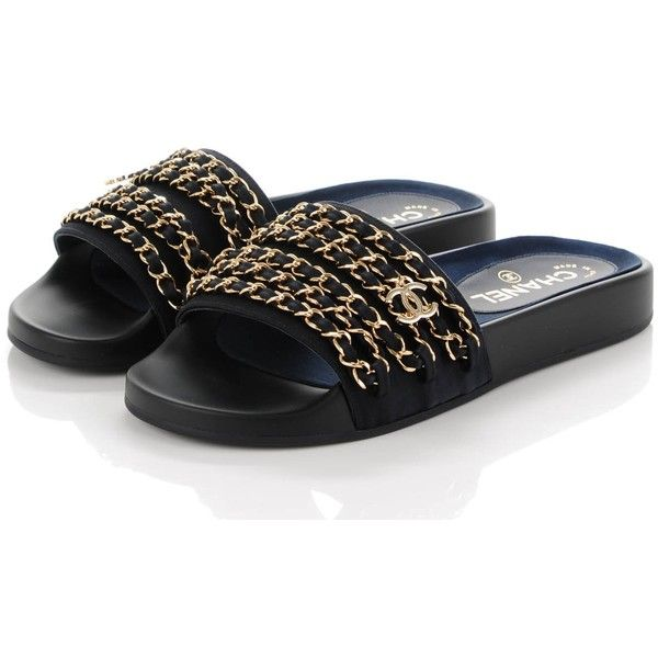 9029e94bae50 CHANEL Nylon Chain Flat Sandals 36 Marine ❤ liked on Polyvore featuring  shoes