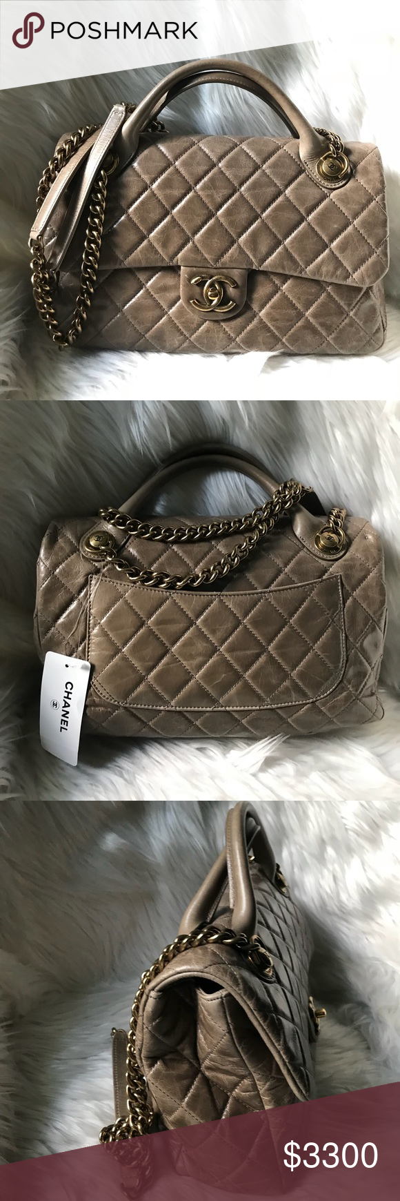 172e8869e5ec CHANEL Calfskin Medium Castle Rock Top Handle Bag CHANEL Grey Quilted  Glazed Calfskin Leather Medium Castle Rock Top Handle Bag 13x3.… | My Posh  Closet