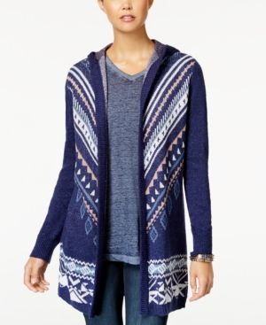 Hippe Rose Juniors' Long Hooded Cardigan Sweater - Blue XL | Products