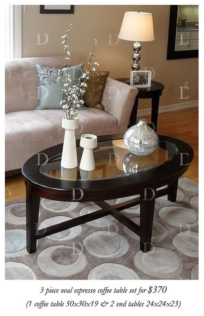 Espresso Oval Amp Glass Coffee Table Set Home Oval Glass