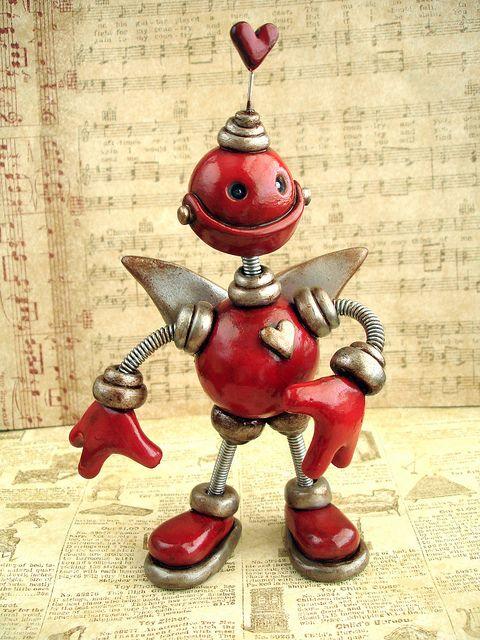 Cupid Cam Valentine Robot Sculpture by HerArtSheLoves, via Flickr #cernit #polymer #robot