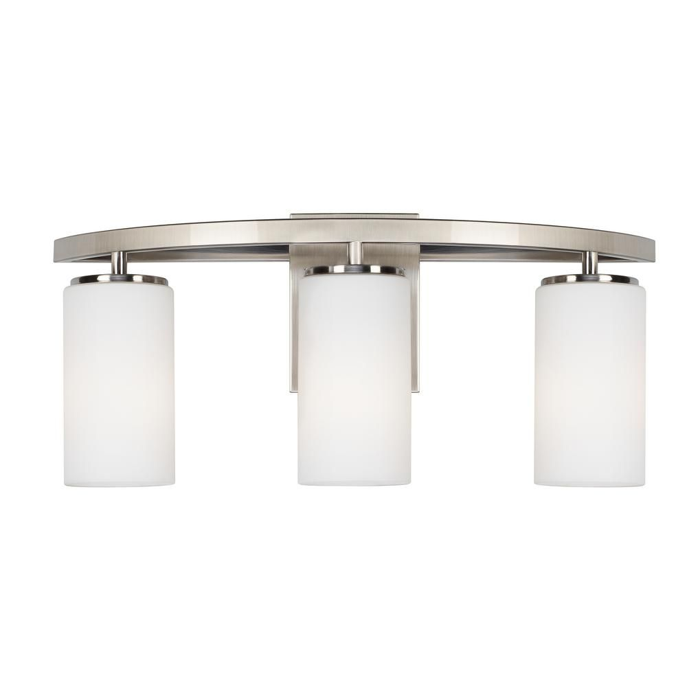 Sea Gull Lighting Visalia 3Light Brushed Nickel Bath Light  Home New Home Depot Bathroom Light Fixtures Inspiration Design