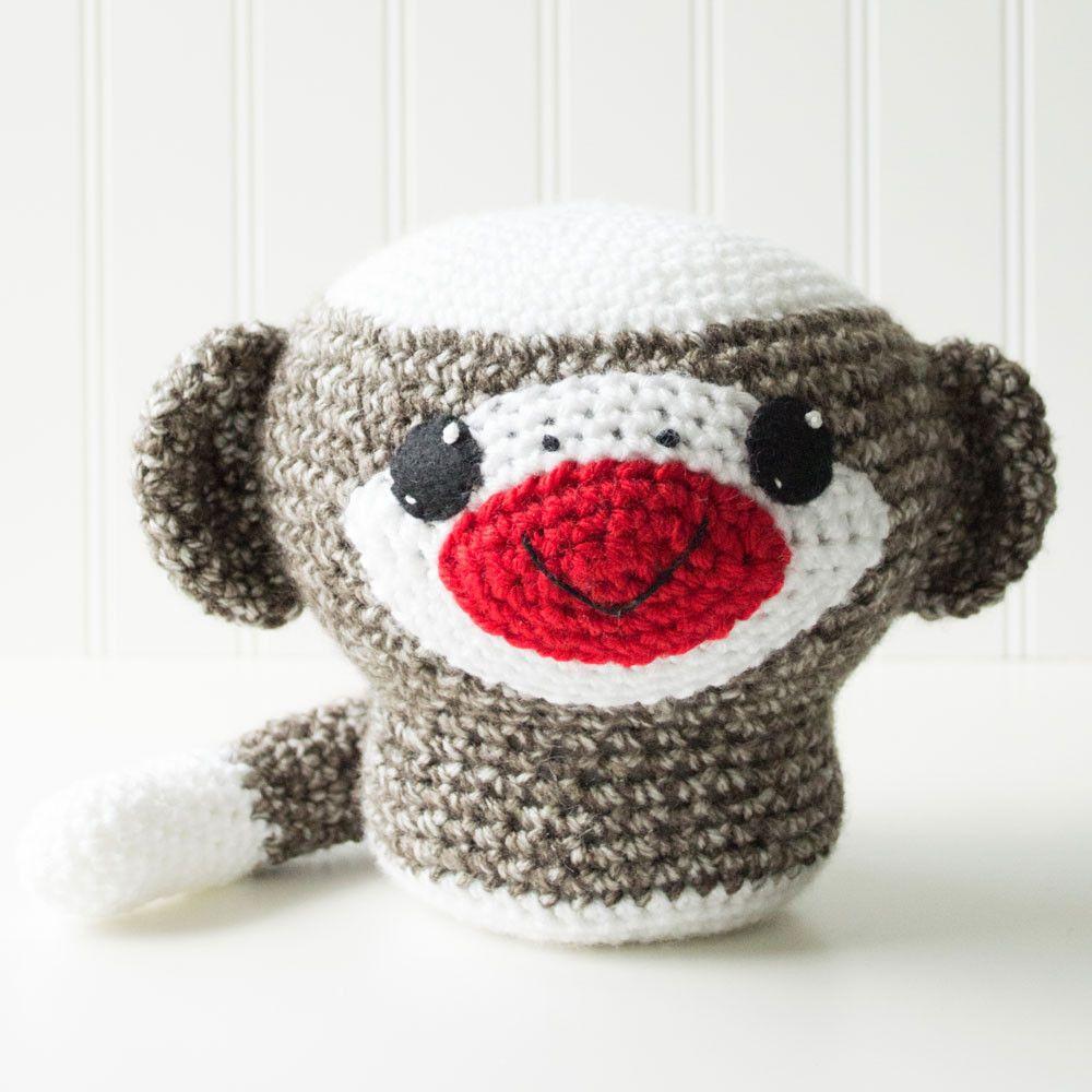 Sock Monkey Crochet Amigurumi Pattern, 8 inch | Crafty Alien ...
