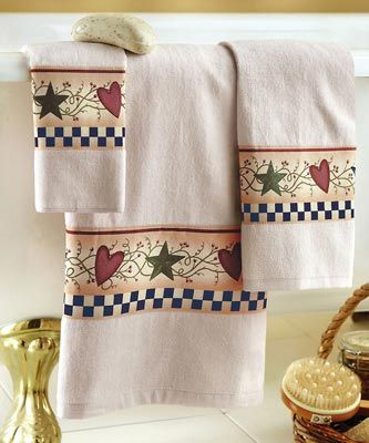 hearts and stars kitchen collection country star folk art bath towels set toallas de ba 241 o toallas decorar con estrellas 6832