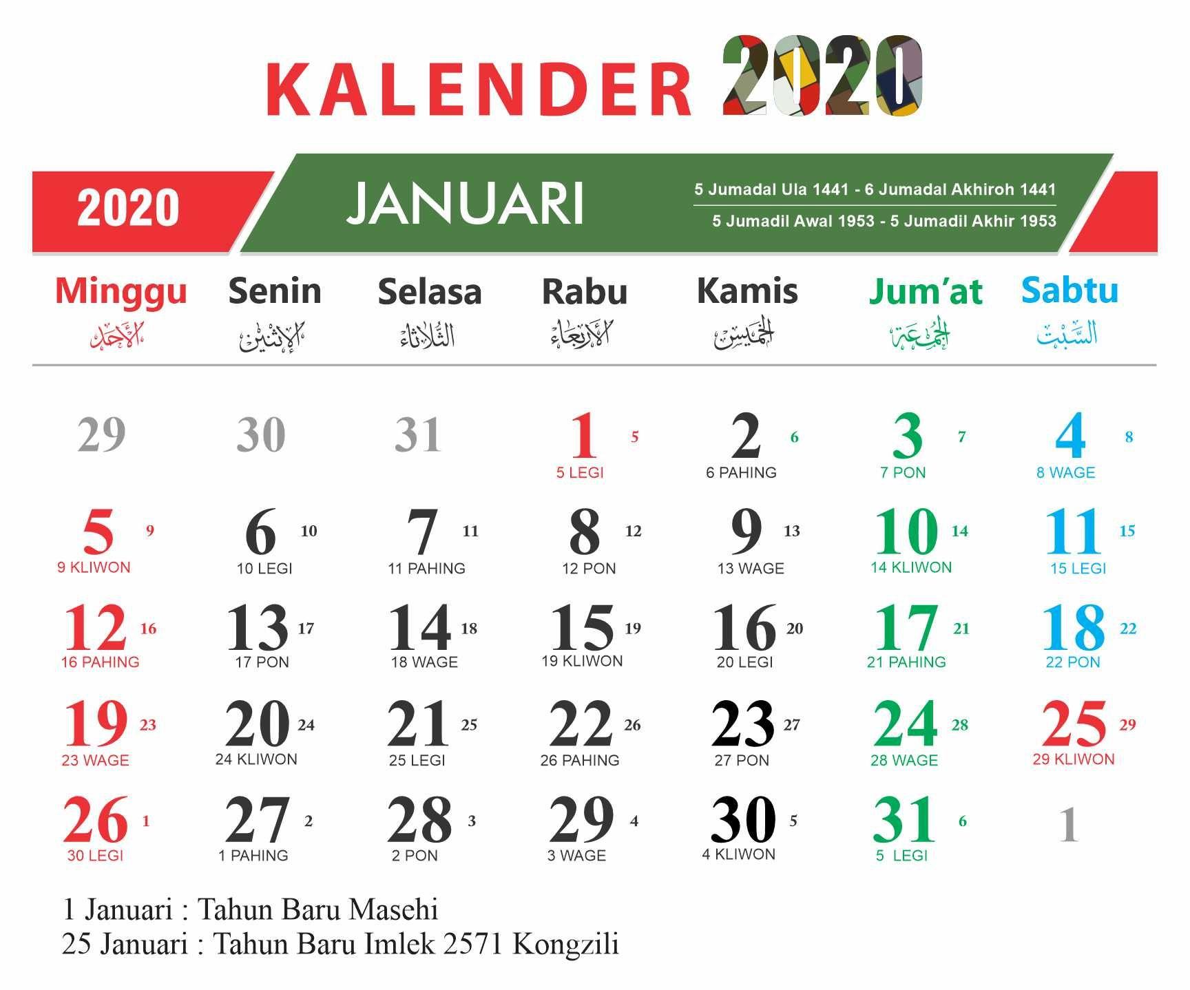 Desain Kalender Kalender Januari 2021 Indonesia / Kotak ...
