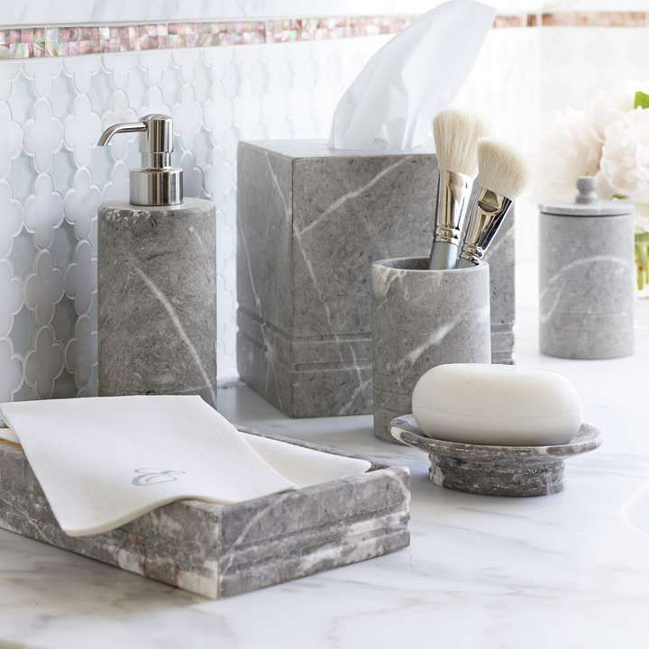 Marble Bathroom Accessories Cloey Marble Bath Accessories By - Black and white tweed bath rug for bathroom decorating ideas