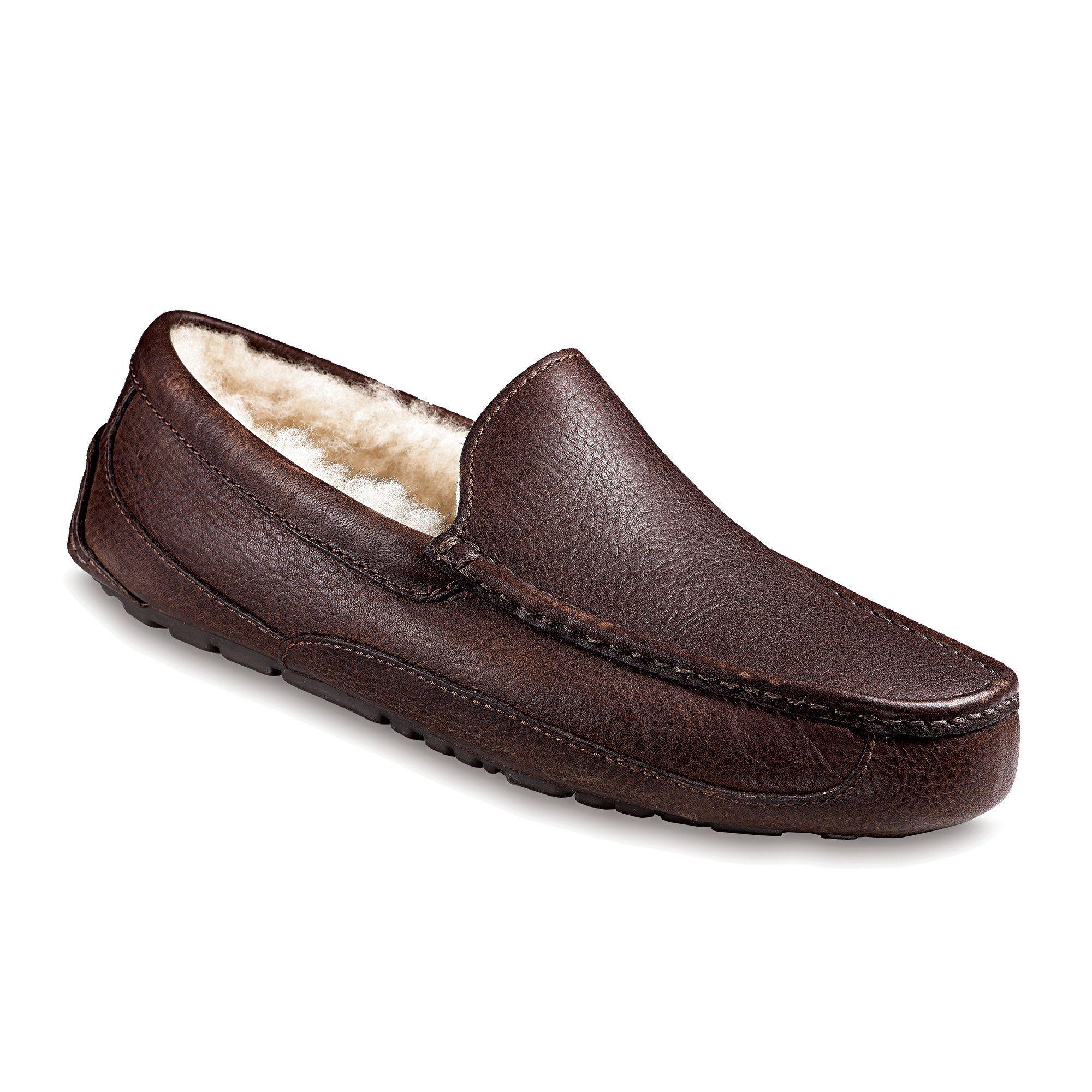 ugg australia men's ascot indoor outdoor leather slippers