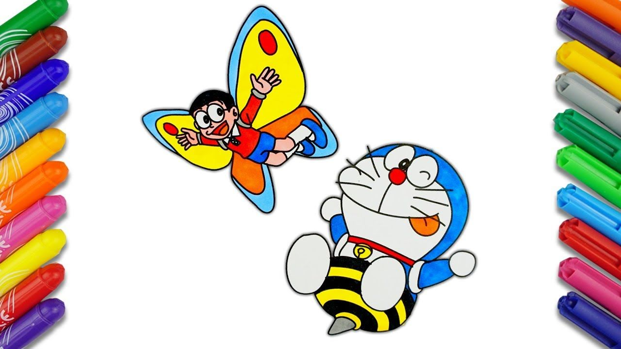 Nobita And Doraemon In Insect World Draw And Color Doraemon Cartoon