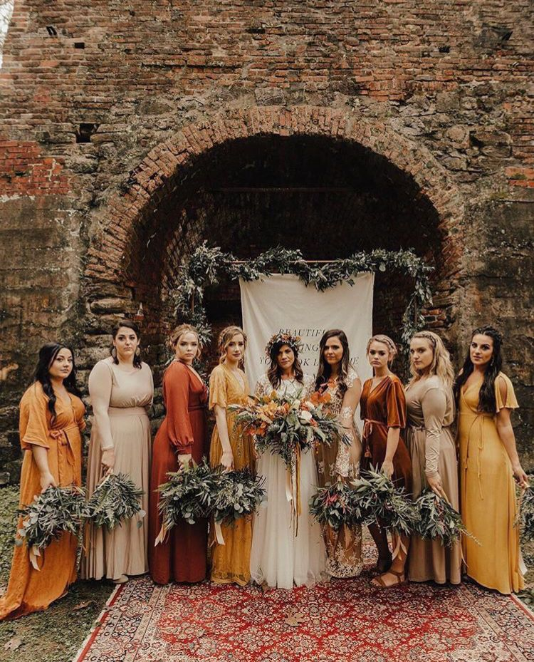 Wedding Colors...orange, Gold, Cream Bridesmaid Dresses