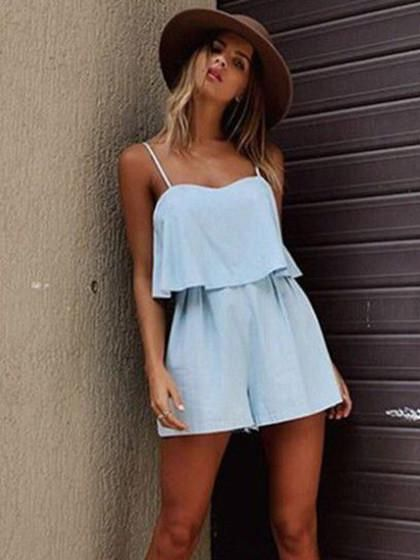 a19767bd94d6 Light Blue Ruffle Overlay Keyhole Back Cami Romper Playsuit