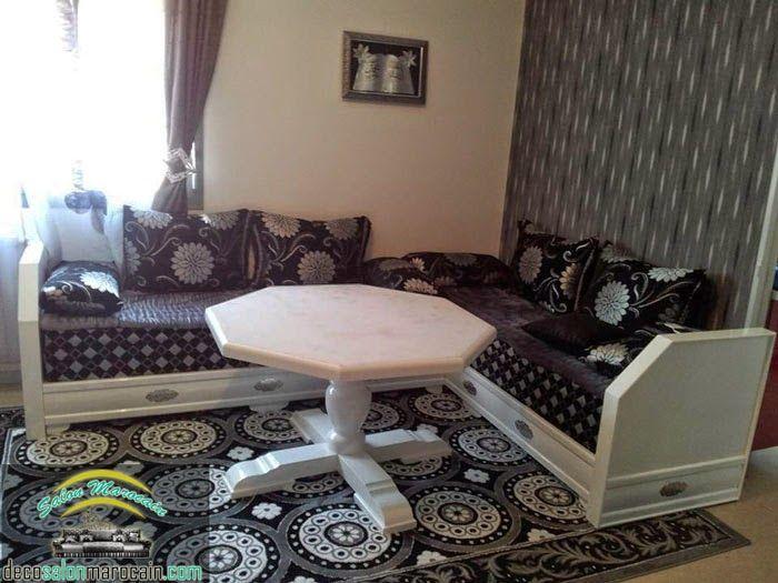 salon marocain noir blanc nejma - Sedari Marocain Blanc
