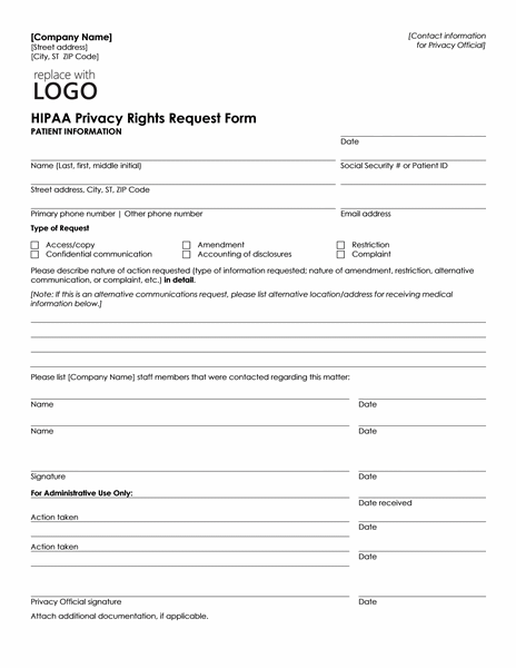 Hipaa Request Form Doritrcatodos