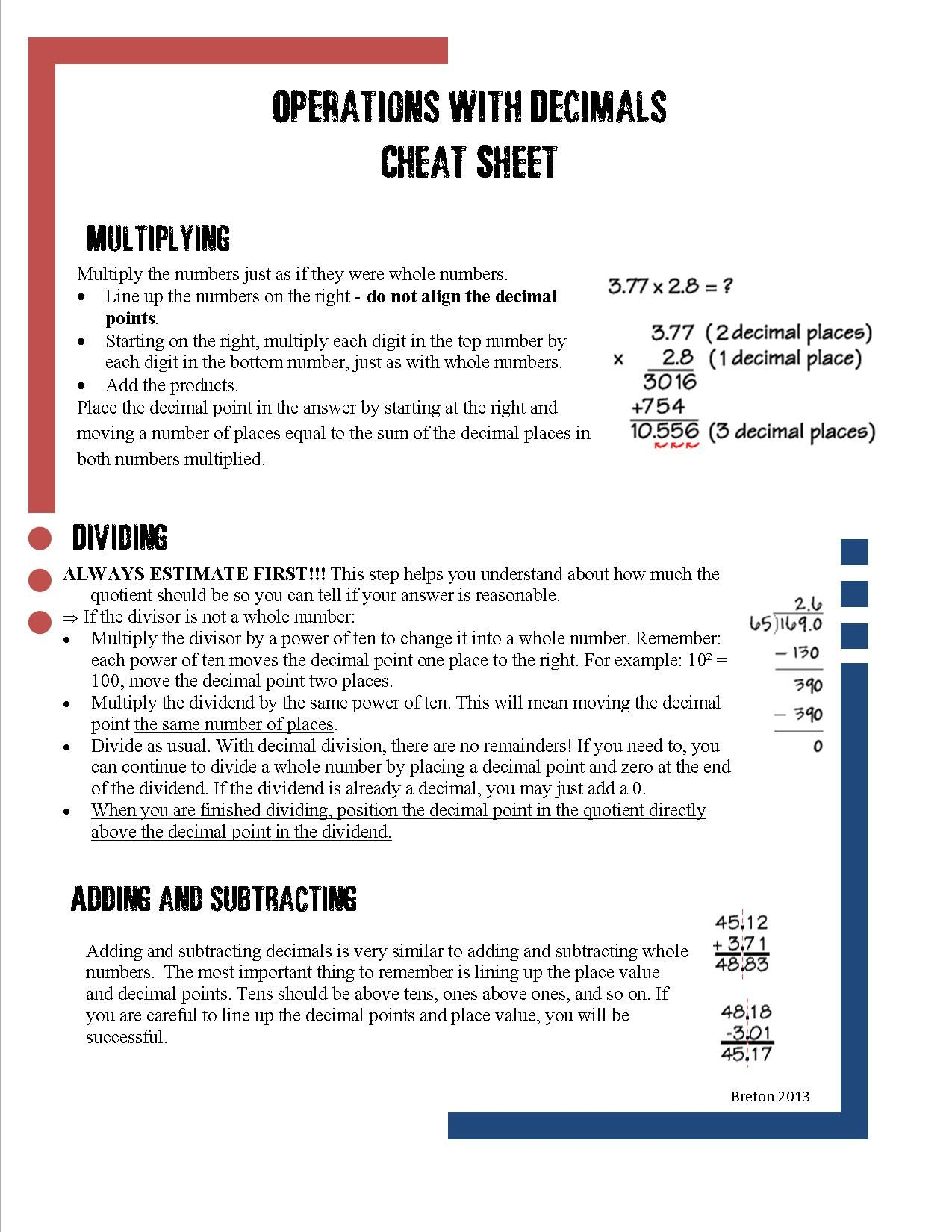 worksheet Addition And Subtraction With Decimals decimal computation cheat sheet math multiplication and homeschool sheet