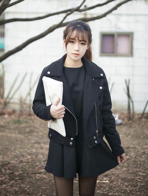 Fingers Crossed Leather Jacket Korean Style Black