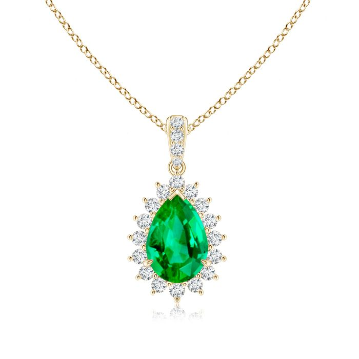 Angara Marquise Emerald Pendant in Yellow Gold - Chain Length: 18 inch oHcO5QcxE