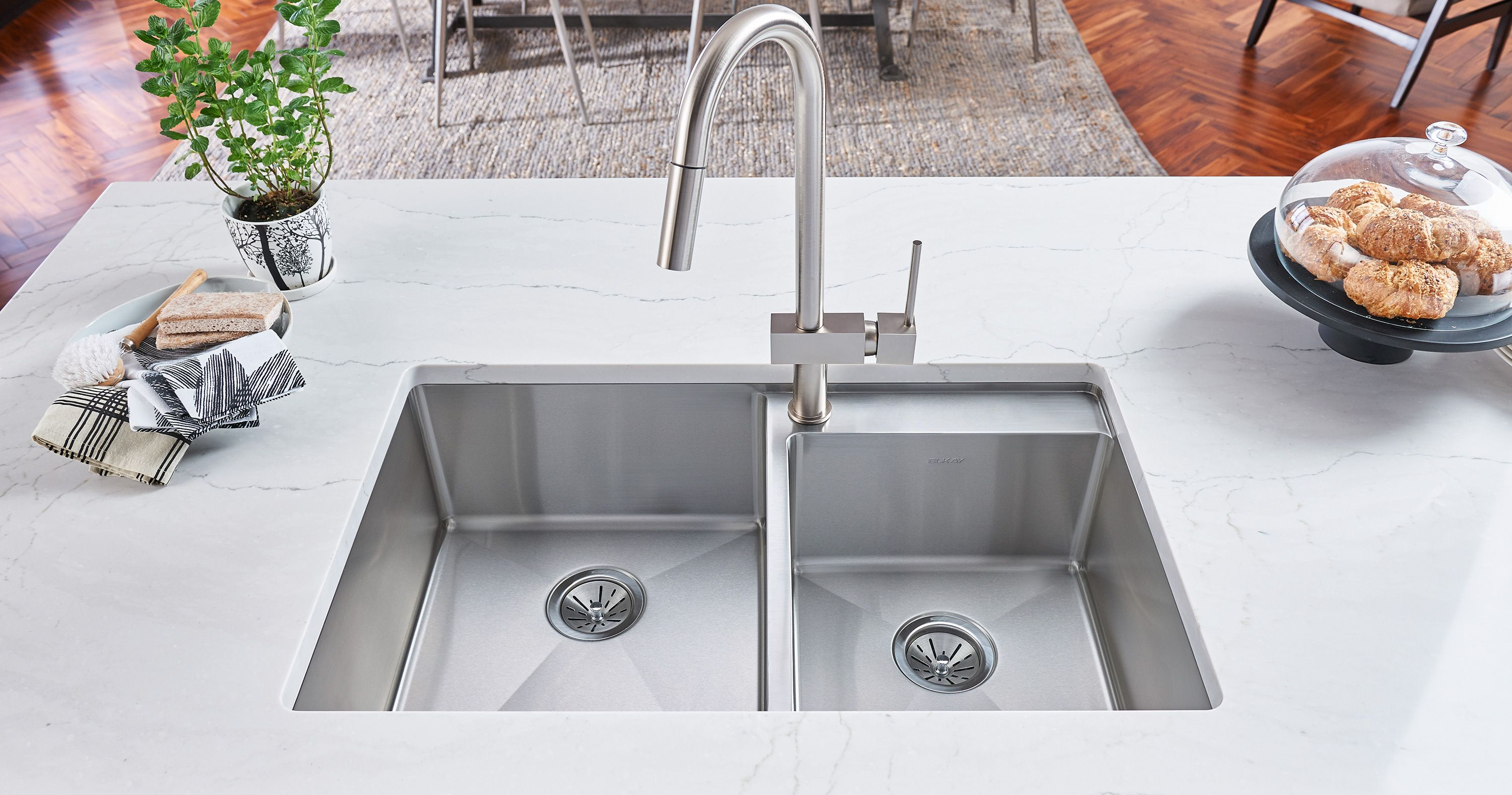 Forget Punching Holes For A Faucet In That Beautiful New Countertop This Double Basin Stainless Steel Undermount 32 In With Images Stainless Steel Kitchen Sink Sink Elkay