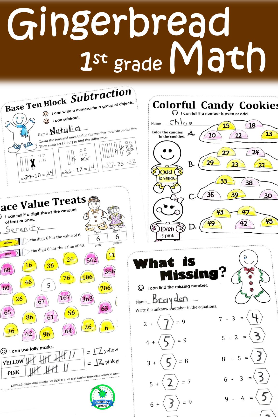Gingerbread Man Math Worksheet Activities For First Grade
