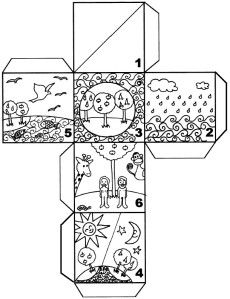 Bricolage : un cube représentant la création de Dieu