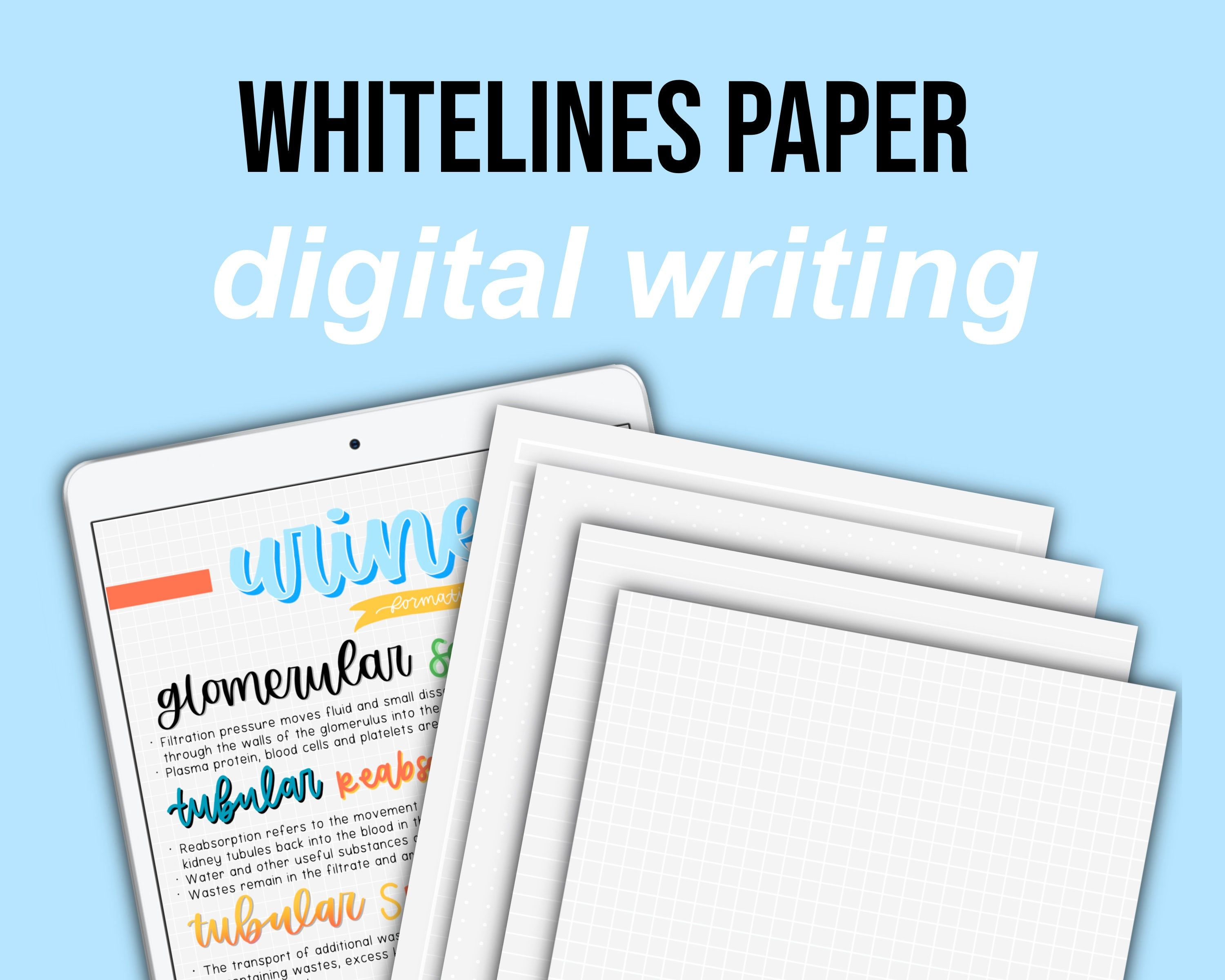 White Lines Paper A4 Digital Download Of Graph Lined Dotted And Cornell Paper Handwriting Practice Sheets Lined Paper Digital Writing