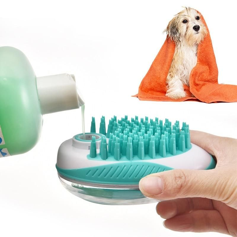 Pet Dog Bath Brush Comb Pet Spa Massage Brush Soft Silicone Dogs