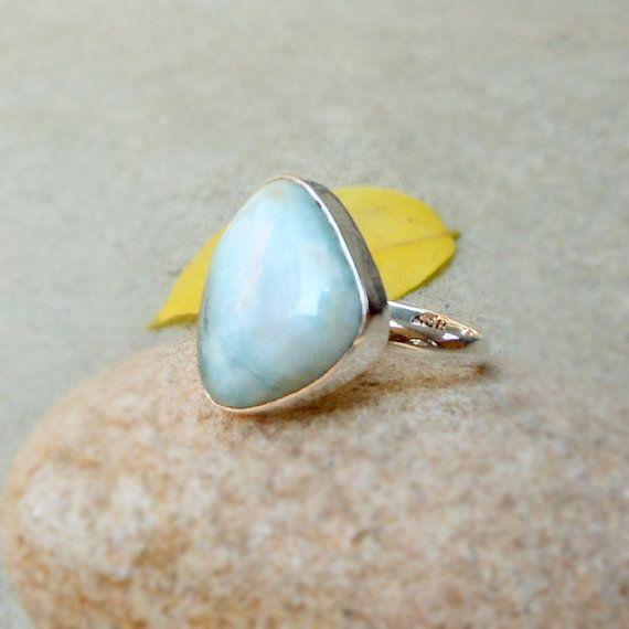 925 Sterling Silver Larimar Ring Larimar by FineSilverStudio