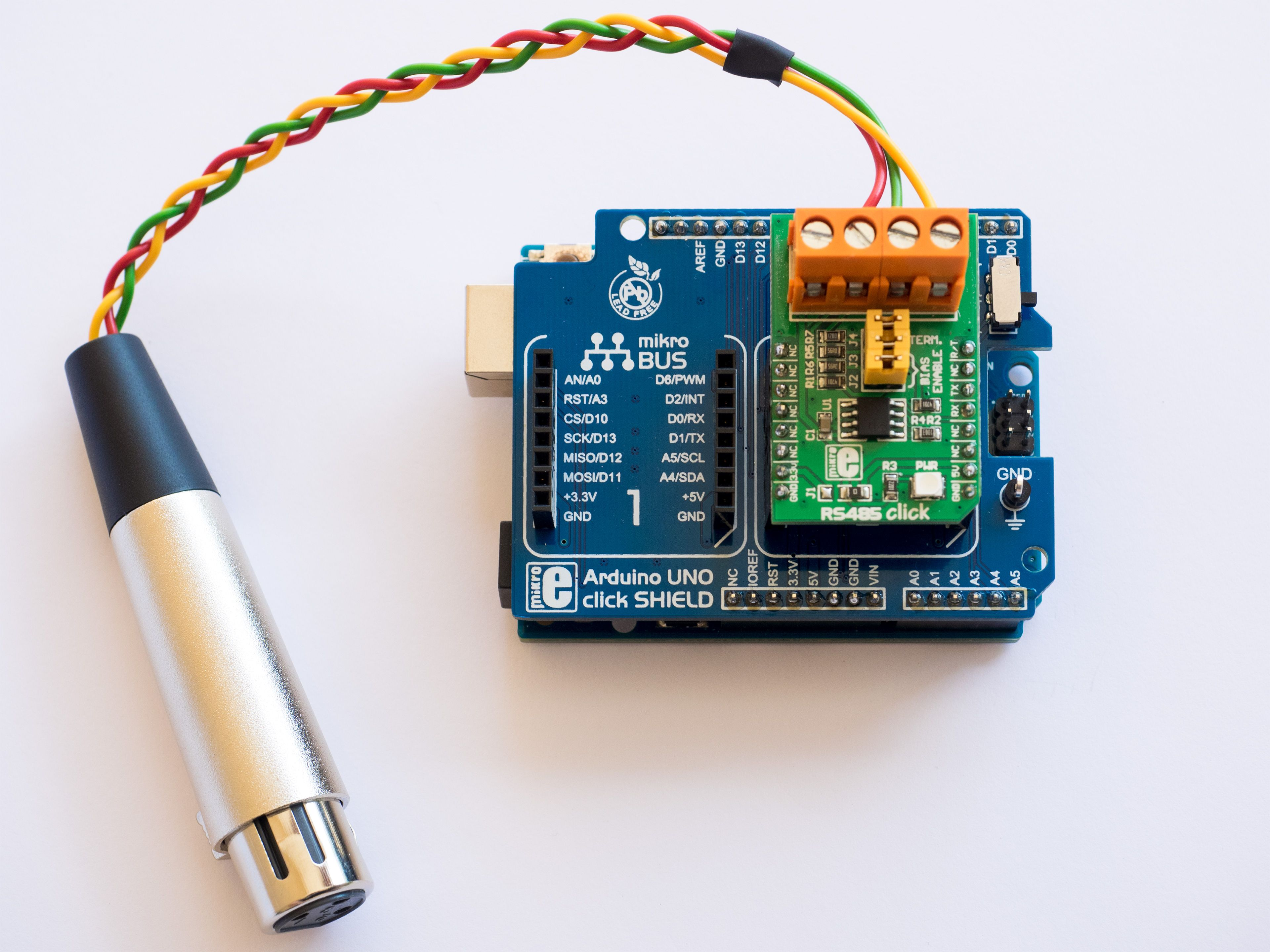 Microcontroller Projects | Arduino DMX master using RS485 click board